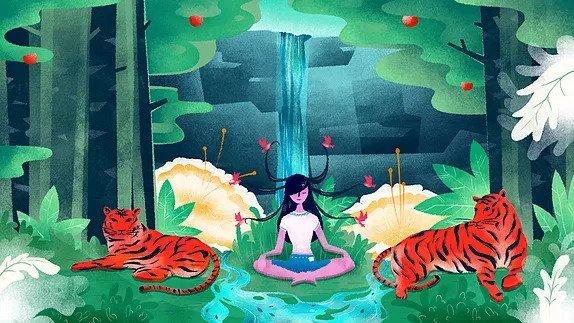 meditáló lány tigrisekkel